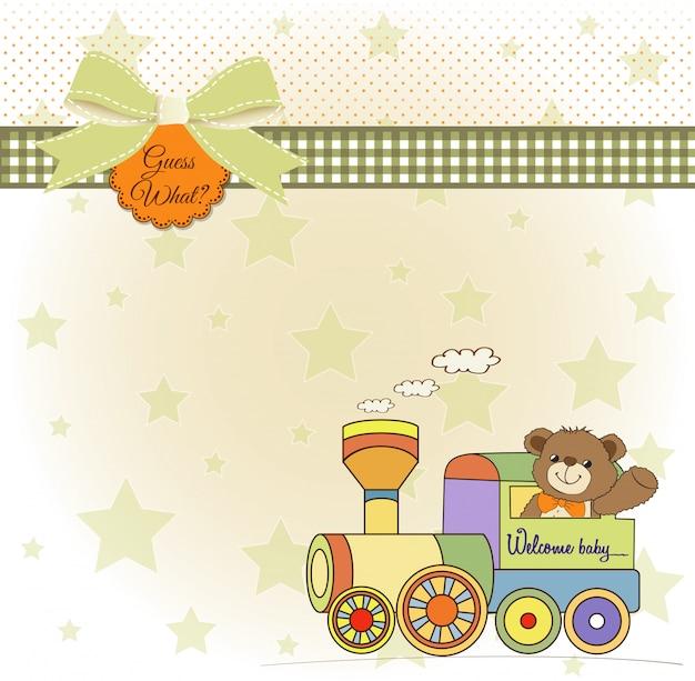 Tarjeta de baby shower con oso de peluche y tren de juguete