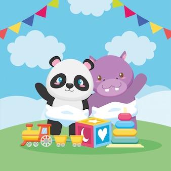 Tarjeta de baby shower con panda y hipopótamo