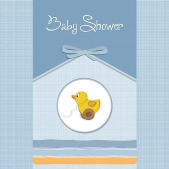 Tarjeta de baby shower con patito de juguete.