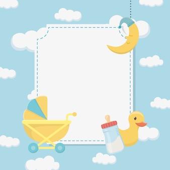 Tarjeta de baby shower con pato de goma y accesorios.