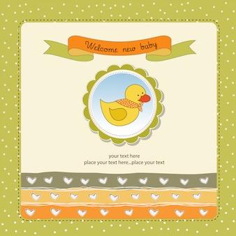 Tarjeta de baby shower con pato