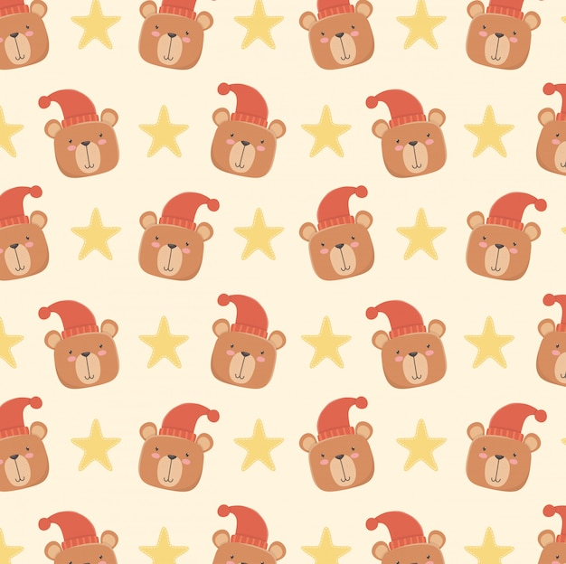 Tarjeta de baby shower con patrón de cabezas de osos pequeños.