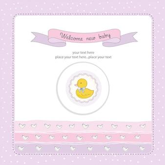 Tarjeta de baby shower con pequeño duc