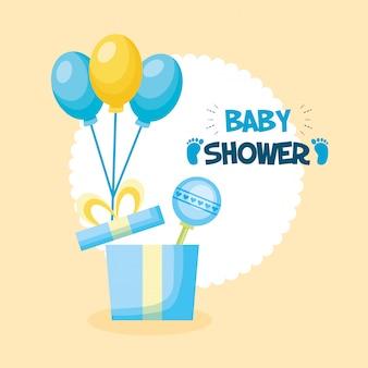 Tarjeta de baby shower con regalos y globos de aire