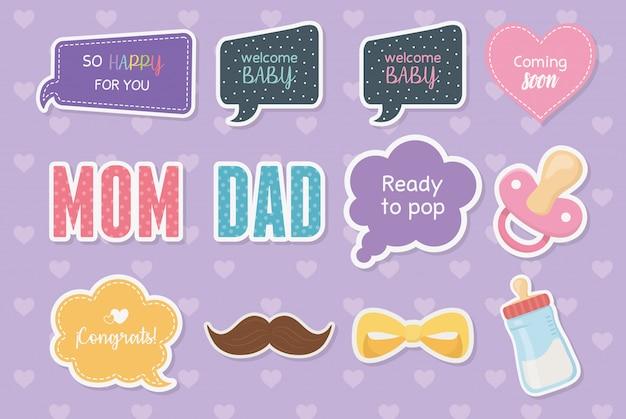 Tarjeta de baby shower con set de accesorios y mensajes.