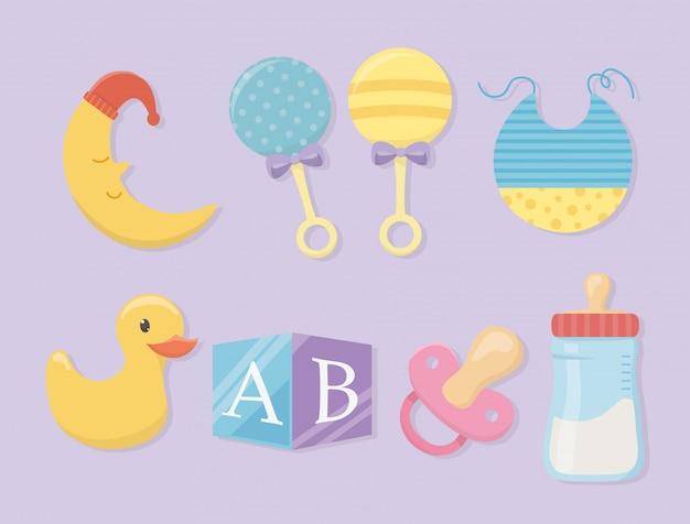 Tarjeta de baby shower con set de accesorios.