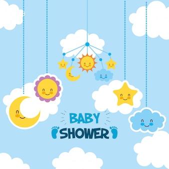 Tarjeta de baby shower con set de iconos colgando