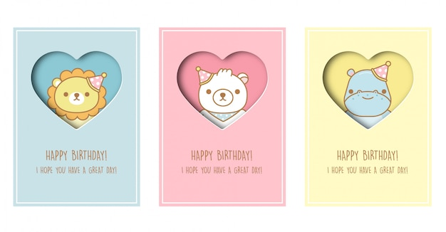 Tarjeta de baby shower, tarjeta de plantilla de felicitación de cumpleaños con león, oso e hipopótamo en estilo de corte de papel. .