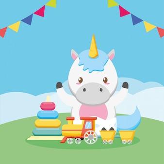 Tarjeta de baby shower con unicornio