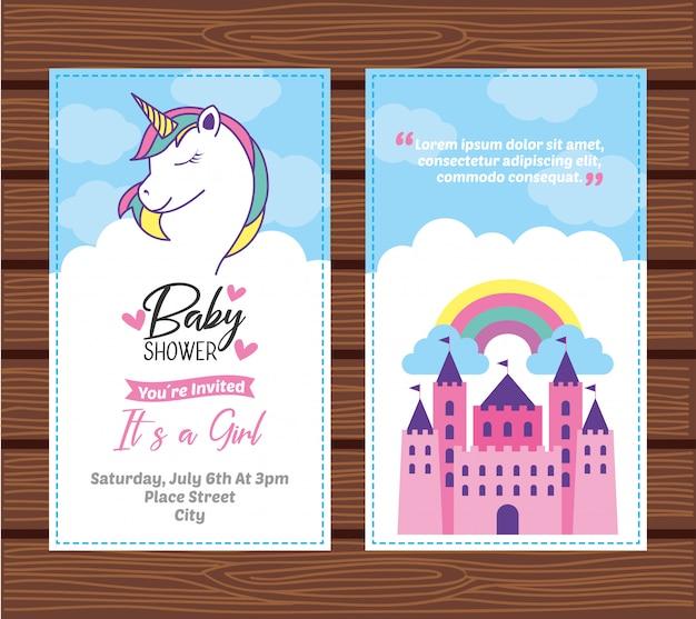 Tarjeta de baby shower con unicornio.