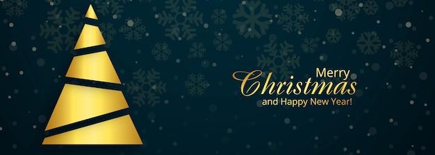 Tarjeta de banner de árbol de navidad feliz