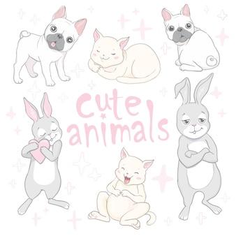 Tarjeta de bebé de animales lindos dibujos animados e invitación