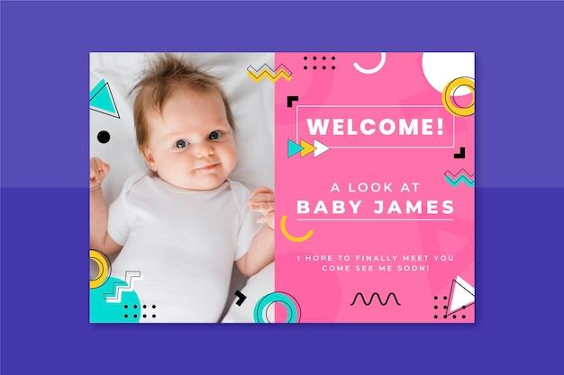 Tarjeta de bebé infantil de memphis