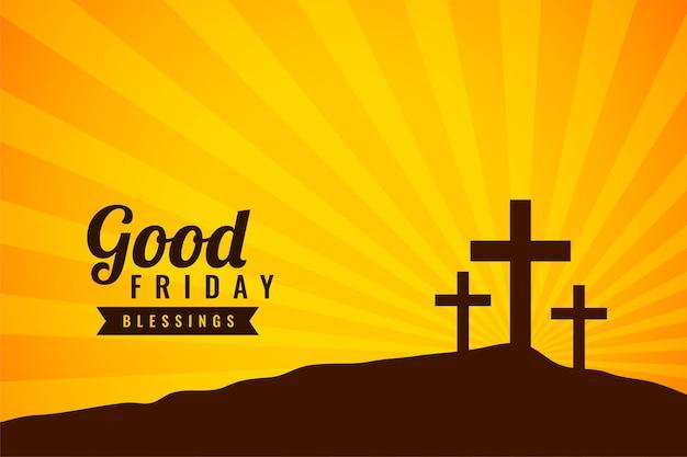 Tarjeta de bendiciones de viernes santo con cruces