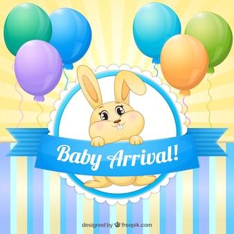 Tarjeta de bienvenida de bebé de adorable conejito con globos