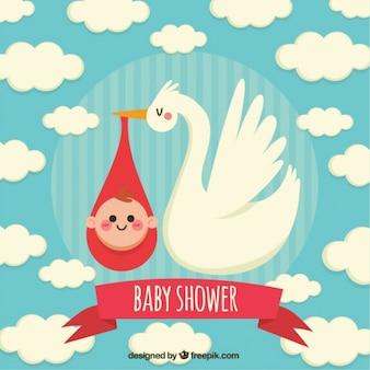 Tarjeta de bienvenida del bebé con cigüeña y nubes