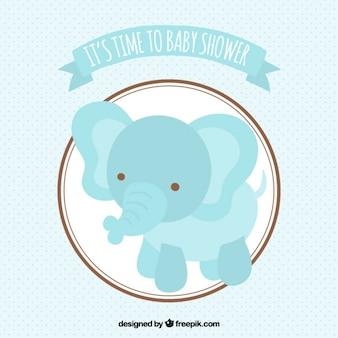 Tarjeta de bienvenida del bebé con un elefante azul