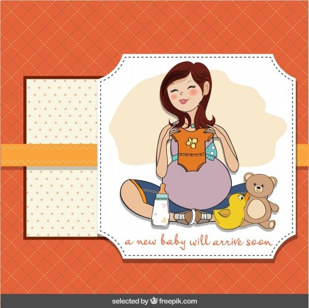Tarjeta de bienvenida del bebé con la feliz embarazada