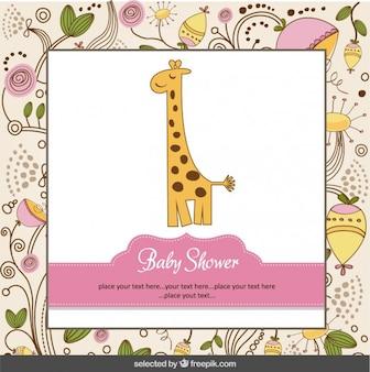 Tarjeta de la bienvenida del bebé con la jirafa y fondo floral
