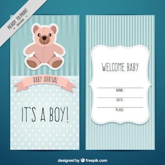 Tarjeta de bienvenida de bebé con un osito de peluche
