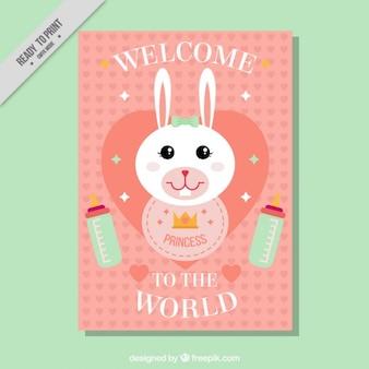 Tarjeta de bienvenida de bebé de simpático conejito