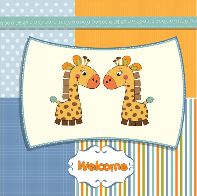 Tarjeta de bienvenida gemelos bebe con jirafa.
