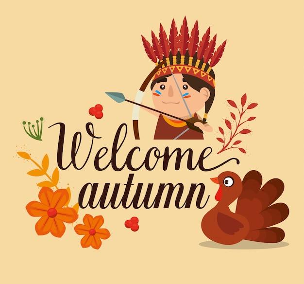 Tarjeta de bienvenida de otoño con pavo y nativo