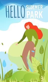 Tarjeta de bienvenida con personaje de dibujos animados mujer