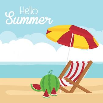Tarjeta de bienvenida de verano con sandía y tumbonas.