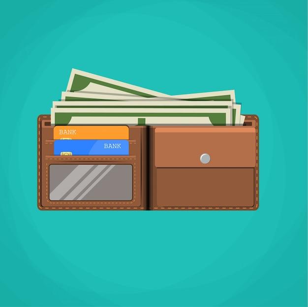 Tarjeta billetera plana y efectivo.