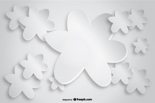 Tarjeta blanca con flores de papel de estilo origami