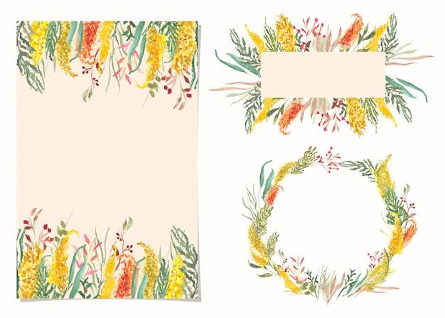 Tarjeta en blanco con flor amarilla acuarela