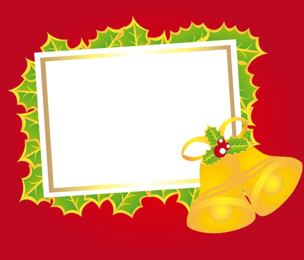 Tarjeta en blanco navidad con campanas sobre vector de fondo rojo