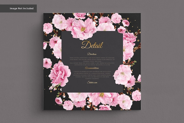 Tarjeta de boda de acuarela de flor de cerezo