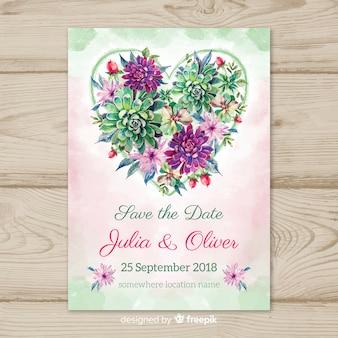 Tarjeta de boda adorable en acuarela con estilo floral