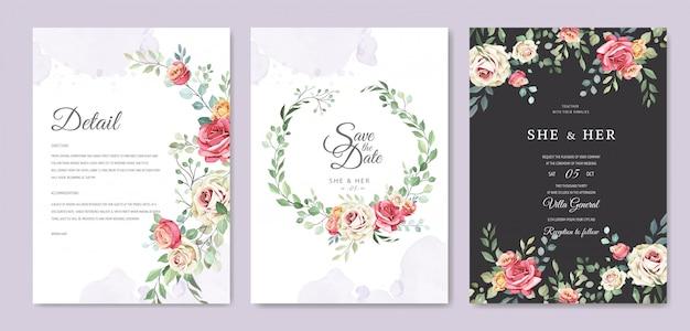 Tarjeta de boda con adorno de flores y hojas