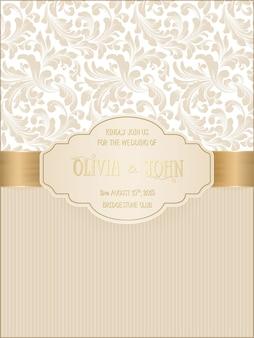 Tarjeta de boda con damasco y elegantes elementos florales.
