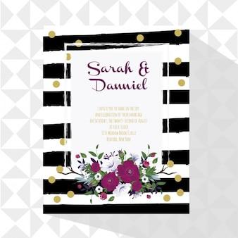 Tarjeta de boda con decoración floral