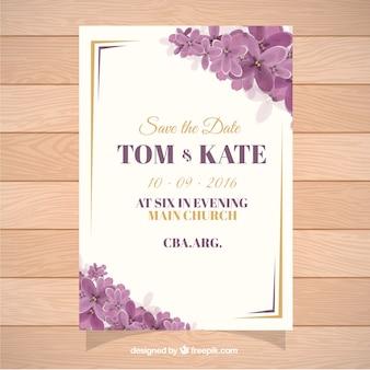 Tarjeta para boda decorada con flores púrpuras