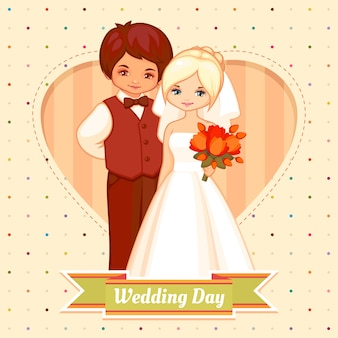 Tarjeta de boda de dibujos animados con novio y novia