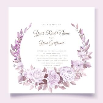 Tarjeta de boda elegante con hermosa plantilla floral y hojas