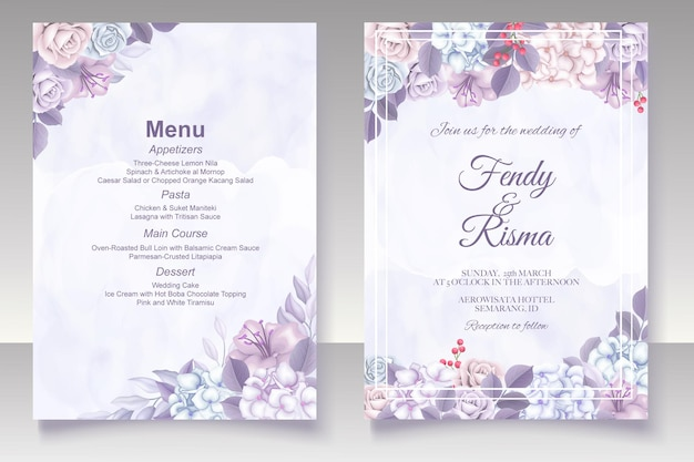 Tarjeta de boda elegante plantilla floral