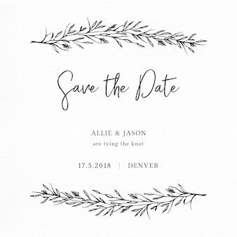 Tarjeta de boda elegante con ramas dibujadas a mano