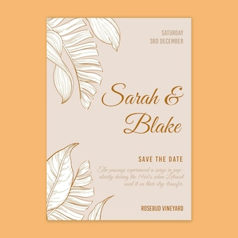 Tarjeta de boda estilo floral