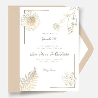 Tarjeta de boda de estilo floral