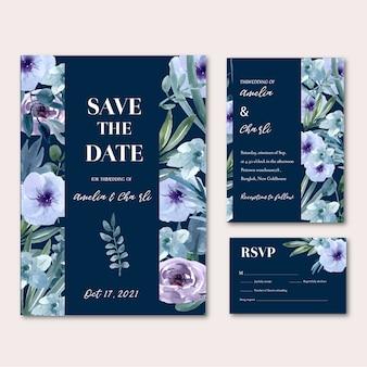 Tarjeta de boda feliz floral