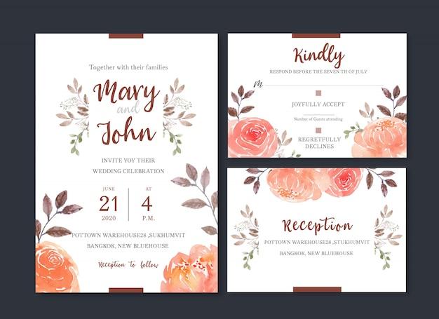 Tarjeta de boda flor acuarela, tarjeta de agradecimiento, invitación ilustración de matrimonio