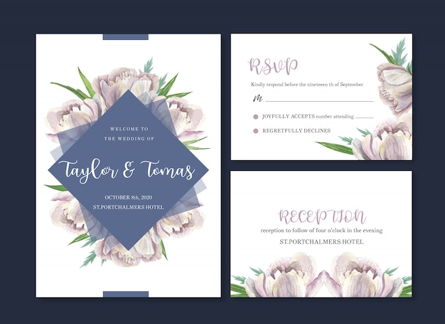 Tarjeta de boda flor acuarela, tarjeta de agradecimiento, invitación matrimonio