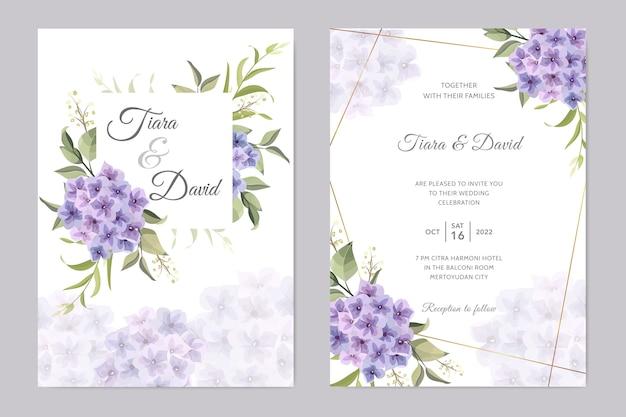 Tarjeta de boda con flor de hortensia morada