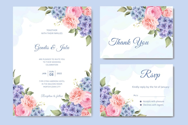 Tarjeta de boda con flor de hortensia